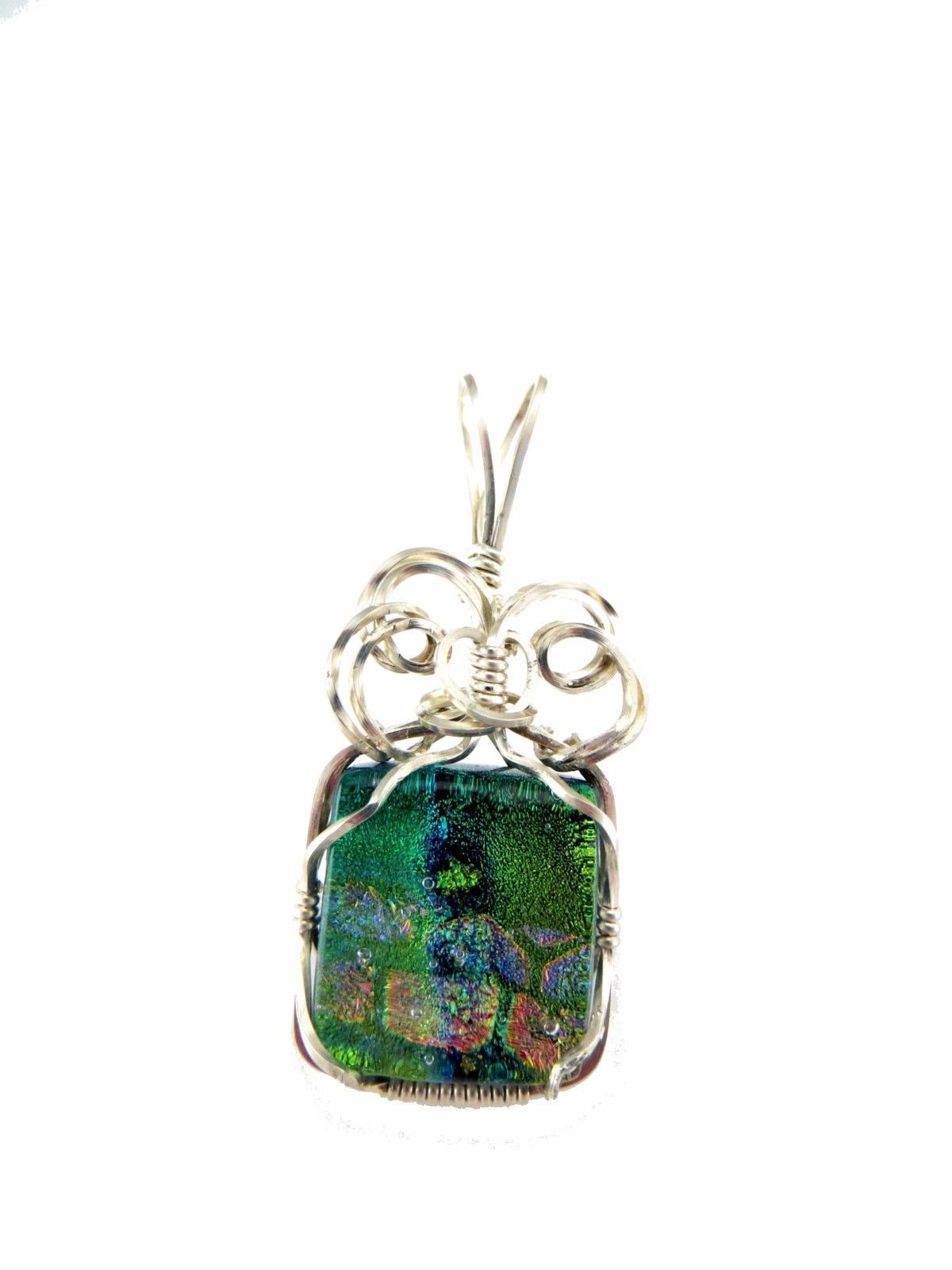 GREEN AQUA & PINK FUSED GLASS WIRE WRAP PENDANT SILVER WIRE WRAPPED - $41.58