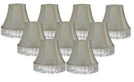Urbanest Set of 9 Cream with Cream Fringe Silk Bell Chandelier Lamp Shade, 3-inc - $49.49