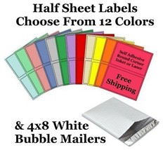 4x8 ( White ) Poly Bubble Mailers + Half Sheet Self Adhesive Shipping La... - $2.99+