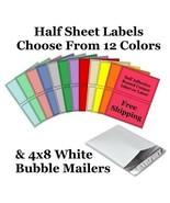 4x8 ( White ) Poly Bubble Mailers + Half Sheet Self Adhesive Shipping La... - $2.99+