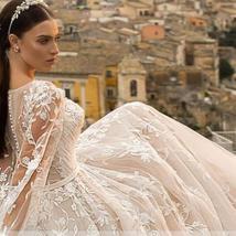 Gorgeous Designer Customized Appliqued A-Line Long Sleeve Vintage Wedding Dress image 6