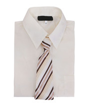Boys Long Sleeve Button Up Ivory Kids Dress Shirt Set With Brown Striped Tie 12