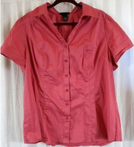 Lane Bryant 20 Button Front Top Pink Short Sleeve Wear to Work - $11.14