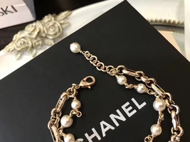 100% Authentic CHANEL 2017 Double Strand Pearl Bracelet CC Charm Gold image 2