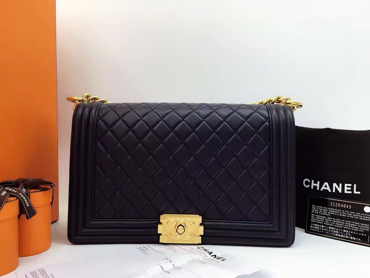 f0cd68cfc886 AUTHENTIC CHANEL Black Quilted Lambskin NEW Medium Boy Flap Bag GHW ...