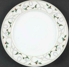 Dinner Plate Vintage Holly by MONTGOMERY WARD Silver Gold Red Green - $10.39