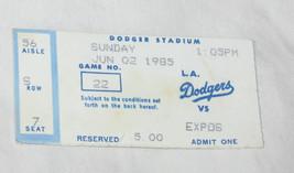 June 2 1985 MLB Montreal Expos vs Los Angeles Dodgers Stadium Game Ticket Stub - $10.75