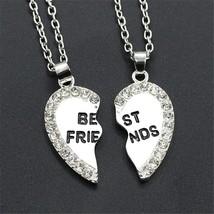 2 Pcs Women's Fashion Necklace Set Heart Design Letter Pattern Rhinestone Decor  - $8.99