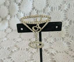 Ladies Silver Tone Rhinestone Martini Glass Pin Brooch  - $2.90