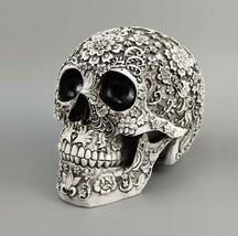Carved Flower Skull Resin Craft White Sculpture Figurine Statue Home Decor - $45.05