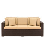 Outdoor Wicker Sofa Couch Patio Furniture w/ Steel Frame and Removable C... - £621.98 GBP