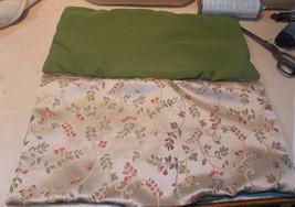 Pair of Beige Green Flower Decorative Print Throw Pillows  11 x 22 - $49.95