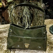 New Liz Claiborne Moss Green Croc Embossed Faux Patent Leather Shoulder Purse - $49.95