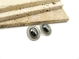 Vintage Whiting & Davis Gray Hematite Silver Filigree Oval Clip On Earri... - $20.99