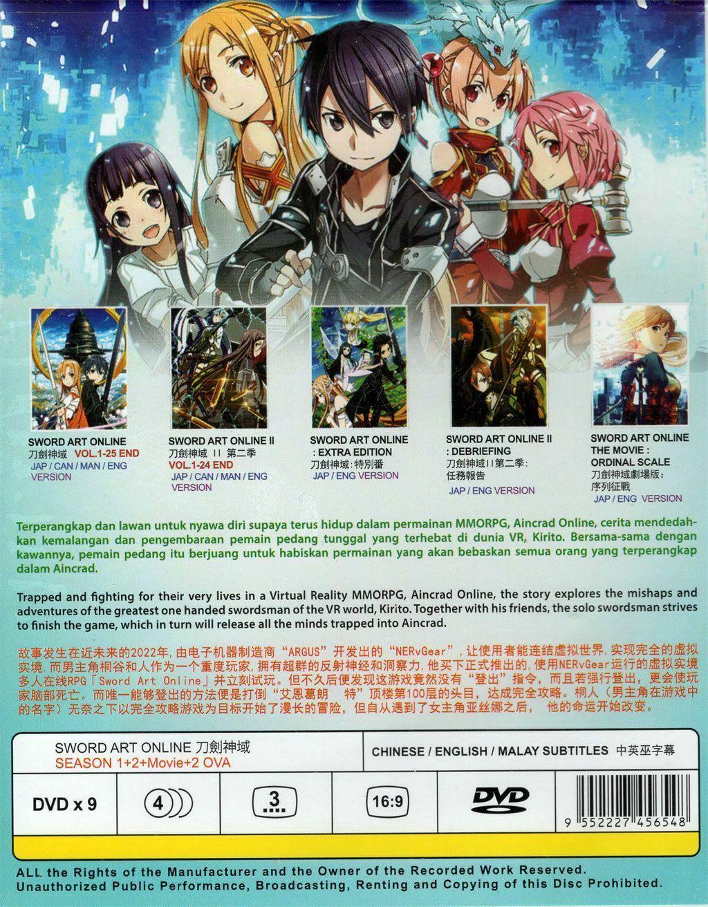 Sword Art Online DVD Complete Season 1+2 + Movie + 2 OVA Ship from USA
