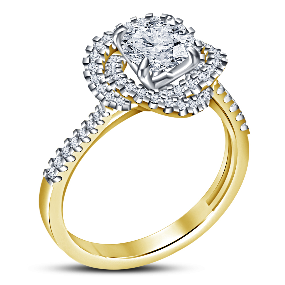 14k Yellow Gold Plated 925 Silver Women's Wedding Ring Round Cut White Diamond