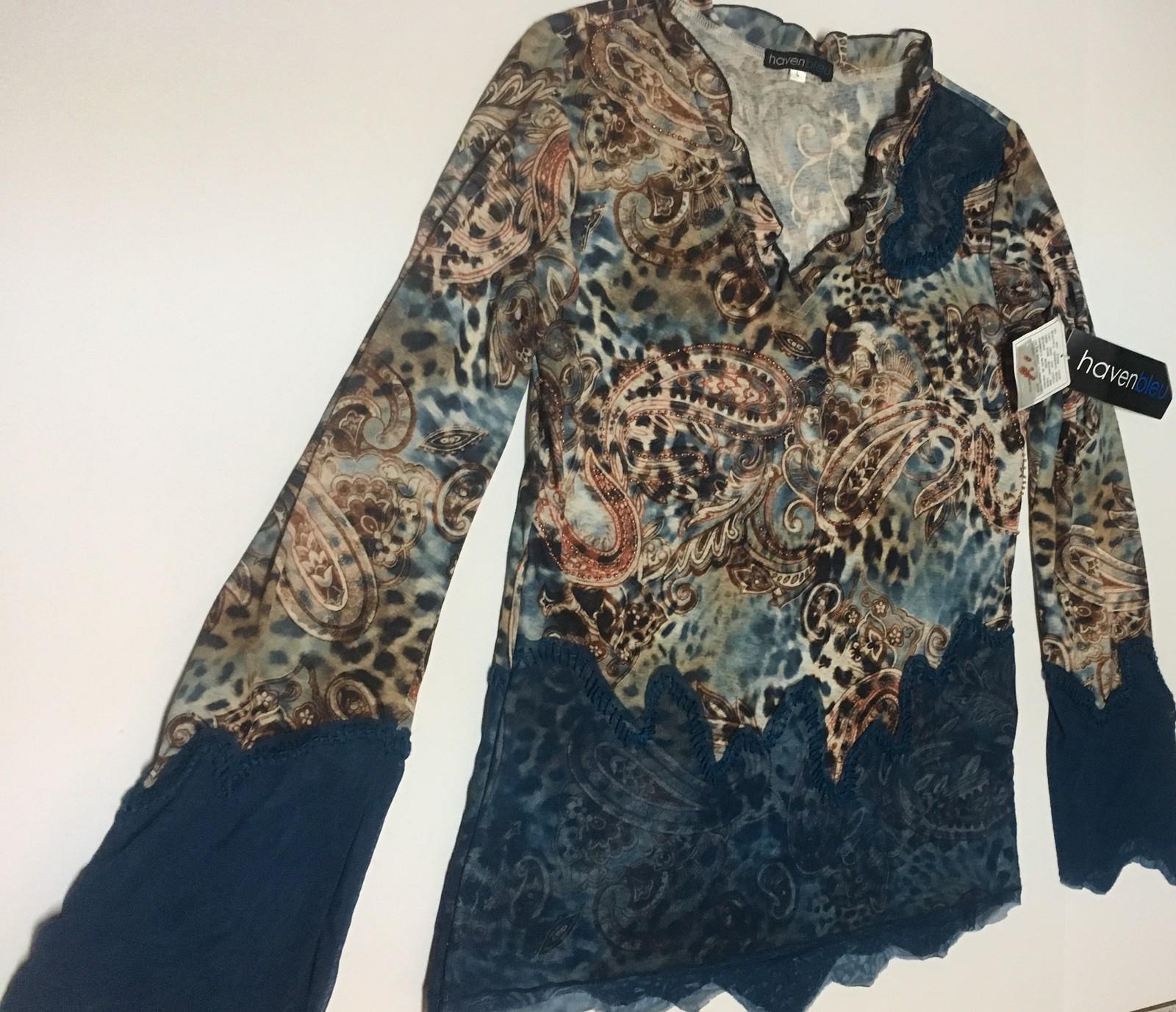 Haven Bleu Blue Lace Animal Blouse Top NWT Sz L