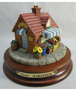 "OUR AMERICA Gift Flower shop FLORIST Candle Topper with Base Yankee 3""1/... - $50.00"