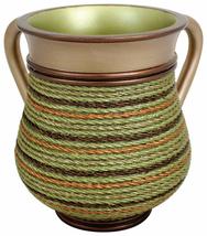 Judaica Polyresin Bronze Green Hand Washing Cup Netilat Yadayim Natla Rope Decor