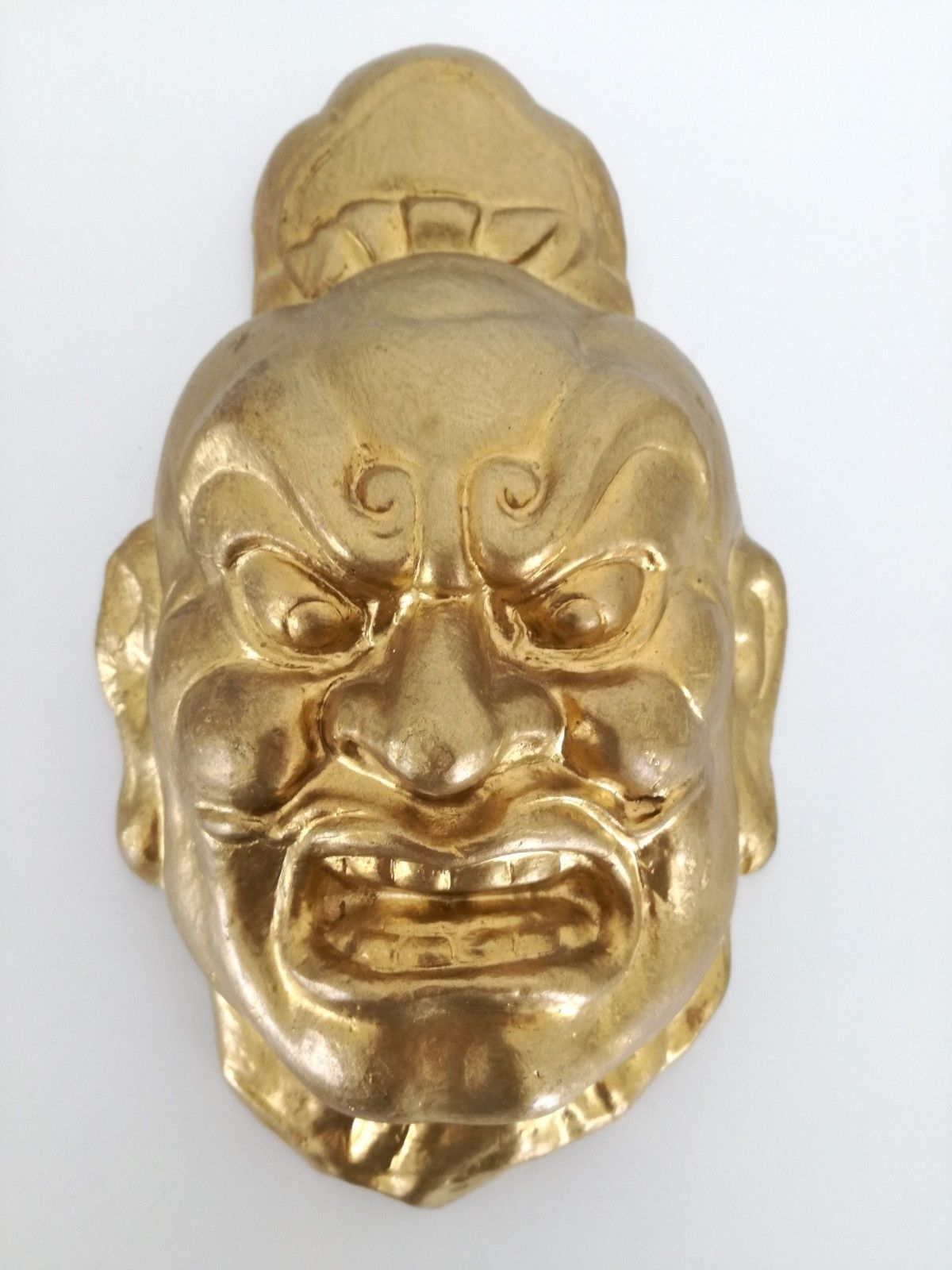 Vintage or Antique Chinese plaster mask gold face 10""
