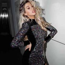 Sexy Black Long Sleeve Sequined Luxury Club Dress image 1