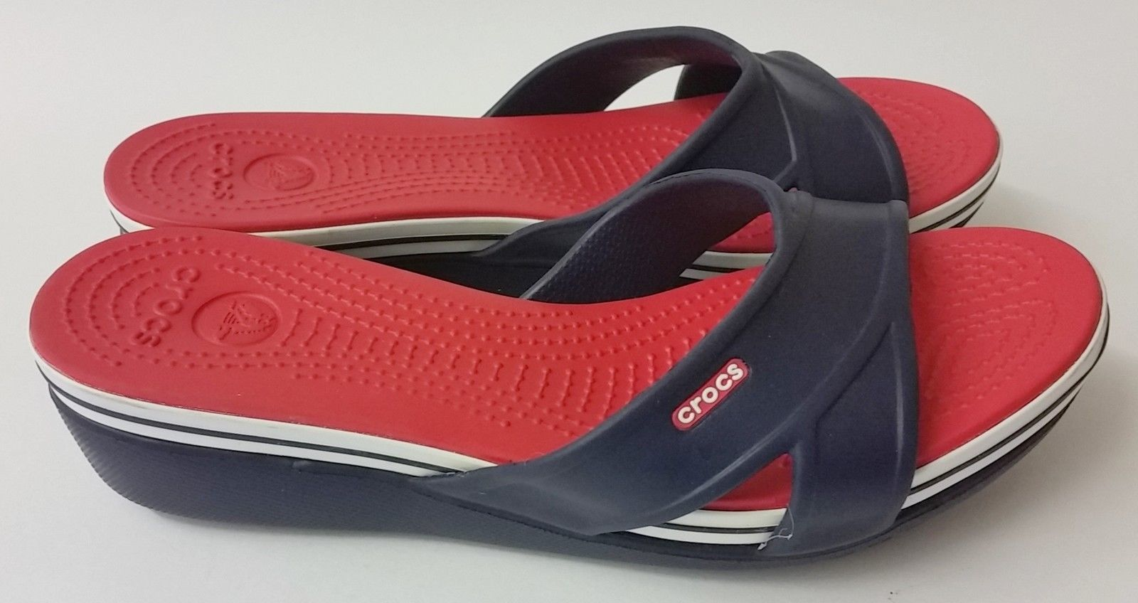 Crocs Shoes Sandals Red White Blue Slides Womens Size 9