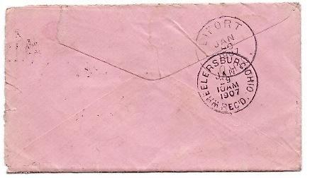 1907 Lyra, OH/Eifort OH Discontinued/Defunct Post Office (DPO) Postal Cover