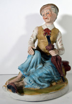 """Vintage 7"""" Hand Painted Porcelain Grandmother Sitting Old Woman Statue Gift - $18.99"""