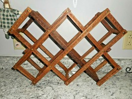 Collapsible Expandable WOODEN ENGRAVED DECORATED Folding WINE RACK 10 Bo... - $24.74