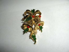 Vintage 1960's Costume Gold Tone Christmas Bells & Bows Signed Gerry's NICE - $25.00