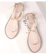 Pearl Flip Flop, Ivory Pearl Sandals, Holidays Shoes, Beach Shoes, Beach Wedding - £39.09 GBP