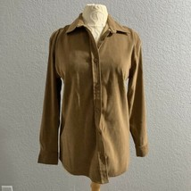 Bill Blass Womens Small Button Down Brown Long Sleeve Polyester Blend - $14.03
