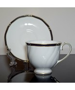 Wedgwood Bone China Royal Lapis Footed Cups and Saucers, Set of 7 - $210.00