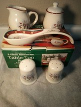 ROYAL SEASONS  5 PC  SET--CREAMER / SUGAR / SALT / PEPPER / SPOON-FREE S... - $35.79