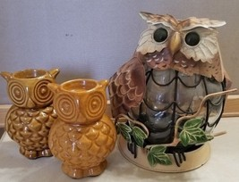 Metal Owl in Nest Glass Body Metal Base and 2 Ceramic Amber Owl Candle H... - $14.99