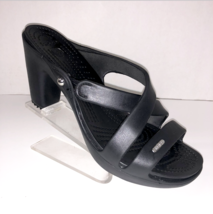 EUC Crocs Cyprus IV Women Black Slide Heel Strappy Sandal Shoes Size 10 - $99.95