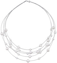 THE PEARL SOURCE 6-9mm Genuine White Freshwater Cultured Pearl Wire Neck... - $238.00