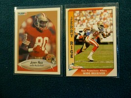 1990 Fler & 1991 Pacific Of Hall Of Famer Jerry Rice N/M To Mint - $3.96
