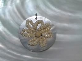 Estate Large Mother of Pearl Circle with Cream Bead Flower Overlay Penda... - $8.59