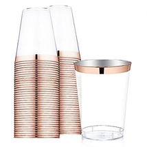 9 oz Rose Gold Plastic Cups -Disposable Clear Plastic Cups With Rose Gol... - $21.22