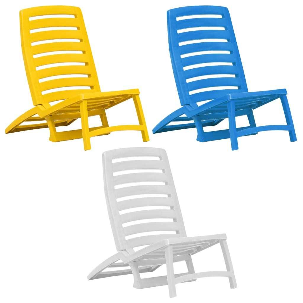 vidaXL 4x Folding Beach Chairs Plastic Beach Seat Outdoor Chair Multi Colors