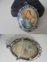 CHARM PENDENT PICTURE frame in silver 800 and with turquoise Original 19... - $40.00