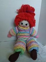 """Large 25"""" Hand Made Doll Gingham Rag Yoyo Fabric Doll Felt Eyes Nose Yar... - $23.76"""