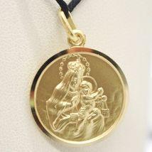 18K YELLOW GOLD SCAPULAR OUR LADY OF MOUNT CARMEL SACRED HEART MEDAL 19mm CARMEN image 4
