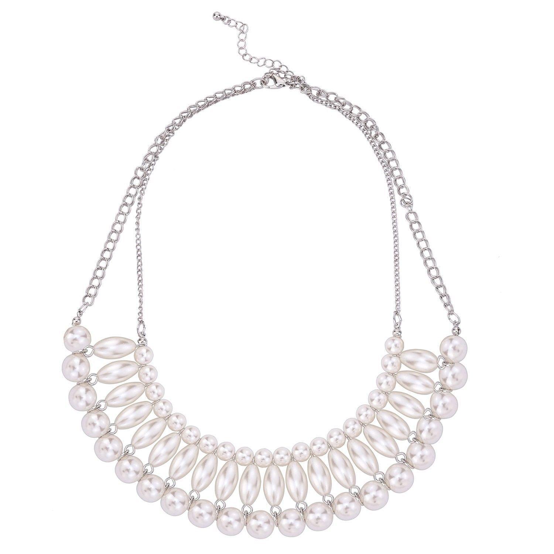 Wedding Party Statement Necklace Silver Tone Imitation Ivory Pearl Bib