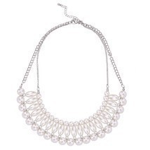 Wedding Party Statement Necklace Silver Tone Imitation Ivory Pearl Bib  - $52.07