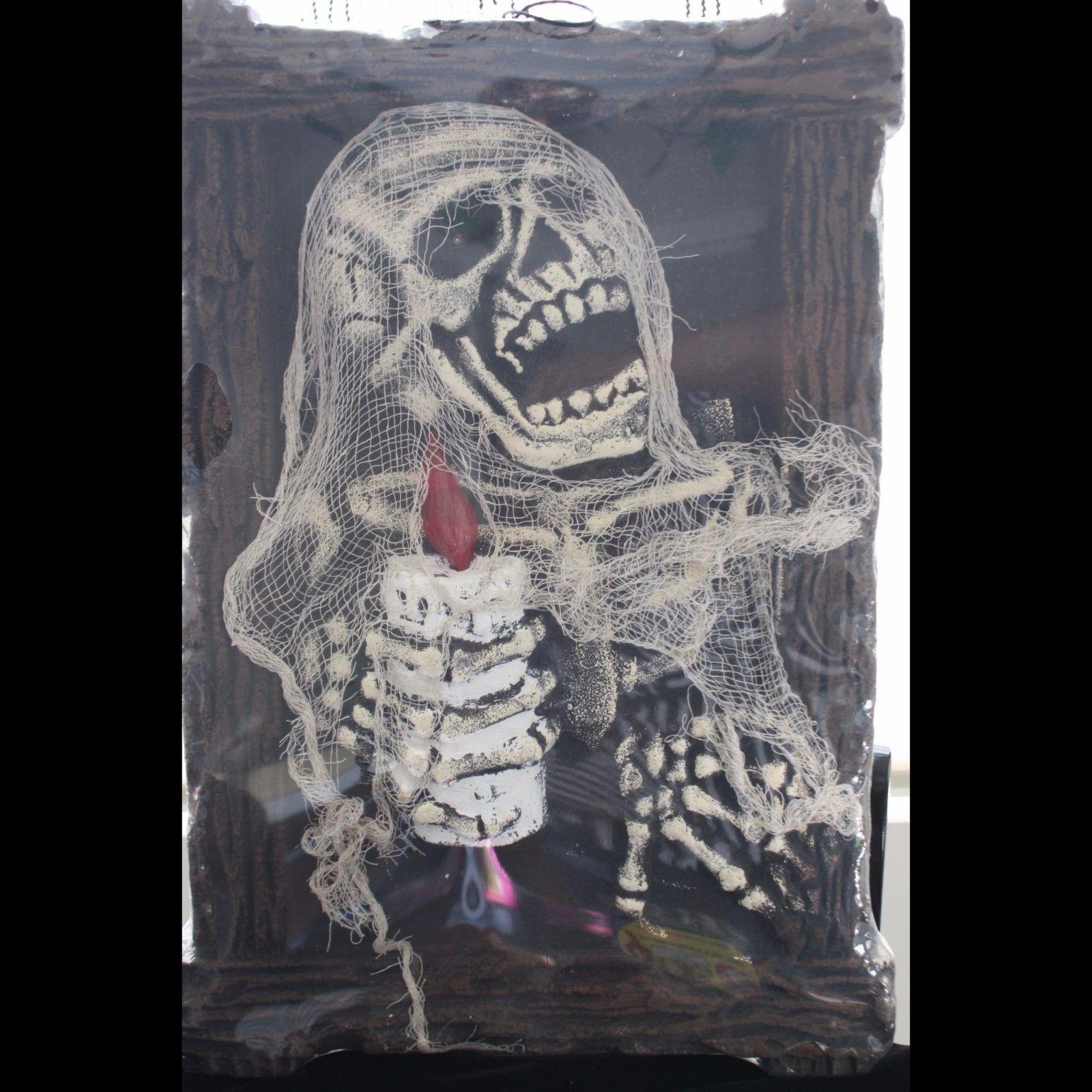 HUGE 3-D Zombie Skeleton LIGHT UP PICTURE PORTRAIT Halloween Prop Decoration-NEW