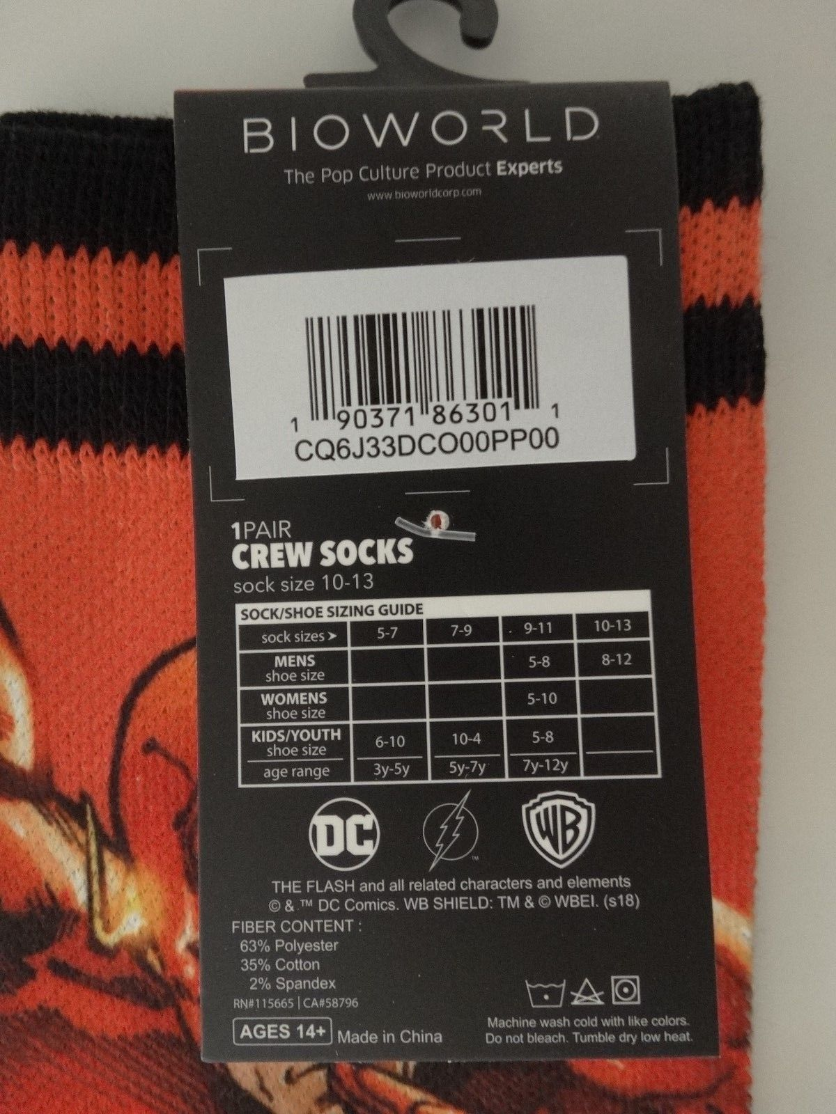 The Flash DC Comics Sublimated over Knit Adult Crew Socks