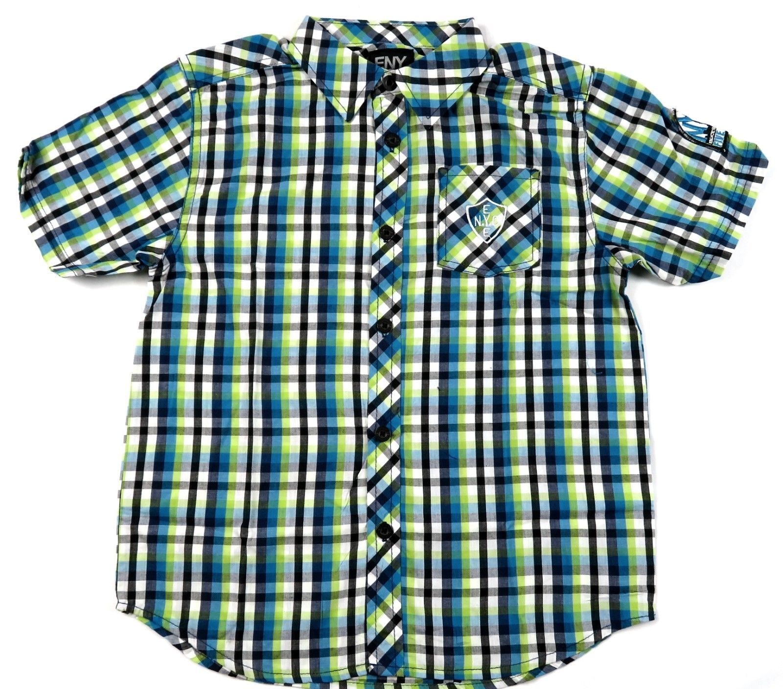 Boy's 4-7x Shirt ENYCE Button Front Woven Short Sleeve Bright Turquoise NEW