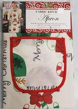 "Printed Kitchen Apron with Pocket, 23"" x 36"", MERRY CHRISTMAS CUPS by BH - $14.84"
